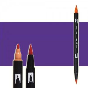 totenart-rotulador-tombow-color-606-violeta-con-pincel-y-doble-punta