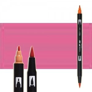 totenart-rotulador-tombow-color-703-rosa-pink-con-pincel-y-doble-punta