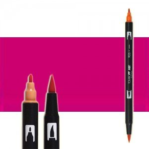 totenart-rotulador-tombow-color-755-rojo-rubi-con-pincel-y-doble-punta