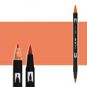 totenart-rotulador-tombow-color-873-coral-con-pincel-y-doble-punta