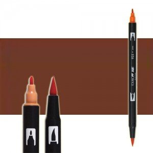totenart-rotulador-tombow-color-879-marron-con-pincel-y-doble-punta