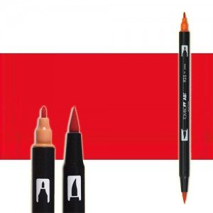 totenart-rotulador-tombow-color-885-rojo-ardiente-con-pincel-y-doble-punta