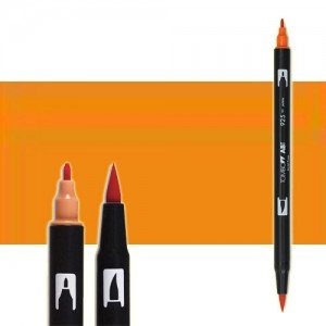totenart-rotulador-tombow-color-933-naranja-con-pincel-y-doble-punta