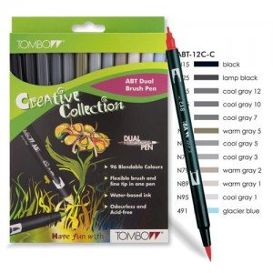 Rotulador Tombow, Set de 12 Colores Grises