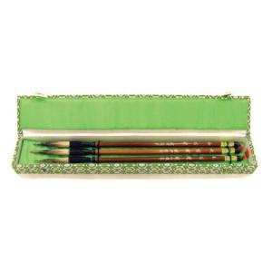 Totenart-Estuche 3 pinceles mango bambu, pelo de tejon