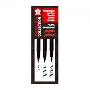 totenart-Set 3 rotuladores negros punta pincel Pigma Brush Sakura (FB, MB, BB)