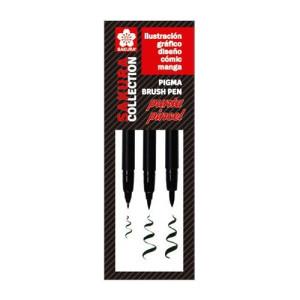 totenart-Set 3 rotuladores negros punta pincel Pigma Brush Sakura (FB, MB, BB)