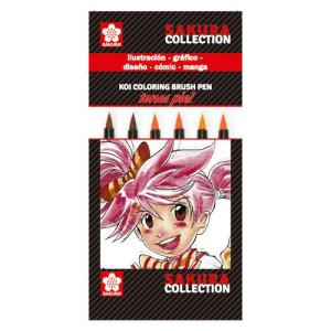 totenart-Set 6 rotuladores PIEL Koi Coloring Sakura punta pincel