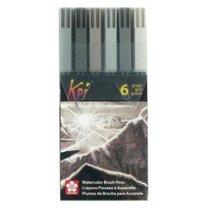 Totenart. Set 6 rotuladores (grises) Koi Sakura al agua con punta pincel