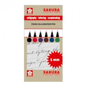 totenart-Set 6 rotuladores Pigma Calligrapher Pen 1mm Sakura