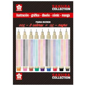 totenart-Set rotuladores Pigma Micron Sakura 8 colores n.05 + 1 negro n.005