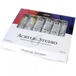 Set Acrílico Studio Vallejo 6 colores (58 ml)