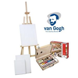 Set de regalo acrílico Van Gogh: maleta, caballete y 3 lienzos