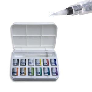 Totenart-Caja con 12 acuarelas Cotman 1/2 godet y pincel rellenable Winsor & Newton.