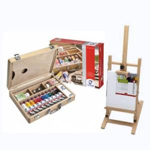 Totenart-Set de regalo acrílico Van Gogh: maleta, caballete y lienzo