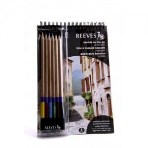 Totenart-Set Paisaje Reeves Sketch On the Go. Block, lapices color y goma