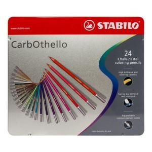 totenart - STABILO Carbothello Caja metal 24 colores lápices pastel surtidos