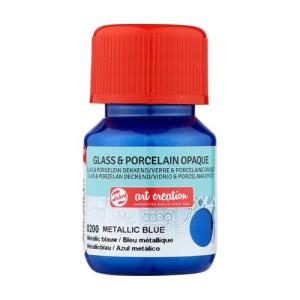Tinta Opaca Vidrio y Porcelana Azul Metálico 8200, 30 ml. ArtCreation