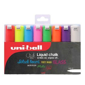 Estuche Uni Chalk Marcadores 8 colores Tiza Líquida, 8.0 mm, Uni-Ball