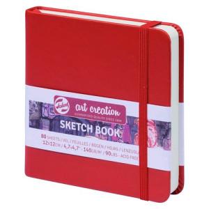 totenart-Bloc de Esbozo rojo, 12x12, banda elastica, 80 h, 160 gr.