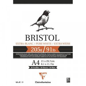 Bloc Bristol Extrablanco A4, 205 gr., 20 h. Clairefontaine