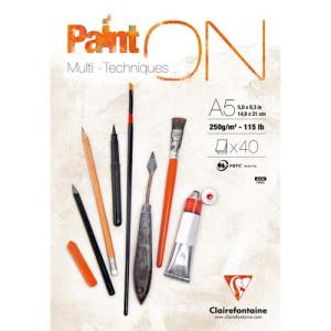 Bloc Multi técnica Paint On A5, 250 gr. 40 h. Clairefontaine