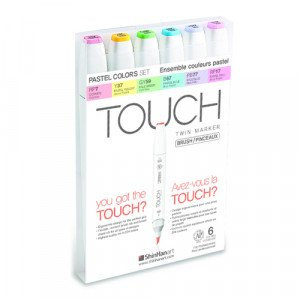 TOUCH TWIN BRUSH MARKER 6 COLOR SET  totenart.