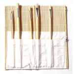 Portapinceles Bambu con bolsa, 40x40 cm.