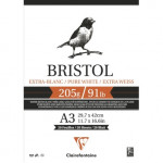 Bloc Bristol Extrablanco A3, 205 gr., 20 h. Clairefontaine