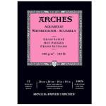 Acuarela Arches 300 gr, 26x36 cm, G. Satinado, block 12 h.