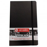 Bloc ArtCreation hojas negras, 13x21, banda elastica, 80 h, 140 gr.