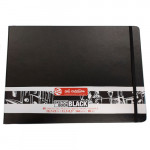 Bloc ArtCreation hojas negras, 29,7x21, banda elastica, 80 h, 140 gr.