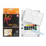 Caja Pocket Box 18 pastillas de acuarelas Koi Sakura + pincel agua rellenable