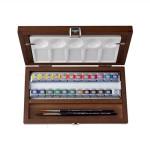 Caja madera 24 pastillas de acuarelas Van Gogh y accesorios
