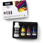 Set Tintas Acrilicas Liquitex, 3 colores primarios, 30 ml + Pouring medium 118 ml.