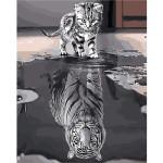 """Pintar por números kit cuadro """"Gatito reflejo tigre"""", 40x50cm, Figured'Art"""