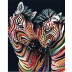 """Pintar por números kit cuadro """"Pareja de cebras de colores"""", 40x50cm, Figured'Art"""