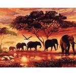 """Pintar por números kit cuadro """"Elefantes al atardecer"""", 40x50cm, Figured'Art"""