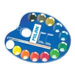 Caja acuarelas paleta Milan, 12 colores 25mm. y pincel Milan -escolar-
