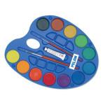 Caja paleta con 12 acuarelas 45mm., tubo blanco y 2 pinceles Milan -escolar-