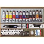Caja de cartón con 12 colores óleo Titan Goya (20 ml)