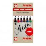 Set 6 rotuladores Pigma Calligrapher Pen 3mm Sakura