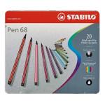 STABILO Pen 68 Caja metal 20 rotuladores de alta calidad surtidos