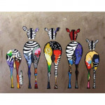 "Pintar por números kit cuadro ""Cebras de espalda"", 40x50cm, Figured'Art"