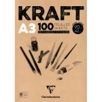 Bloc de Papel Kraft A3, 90 gr. 100 h. Color Marrón Clairefontaine