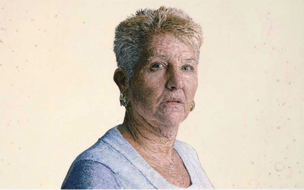 Retrato de una mujer hecho en lana, por Cayce Zavaglia