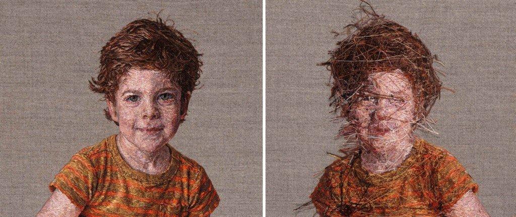 Retrato infantil hecho en lana, por Cayce Zavaglia