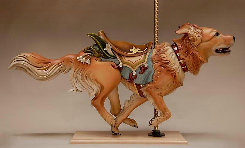 Chow Retriever, escultura en madera de Tim Racer