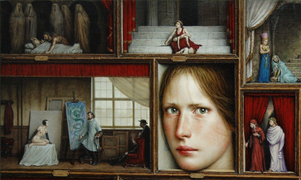 Detalle de 'Proscaenia', del artista Dino Valls. Óleo sobre tabla