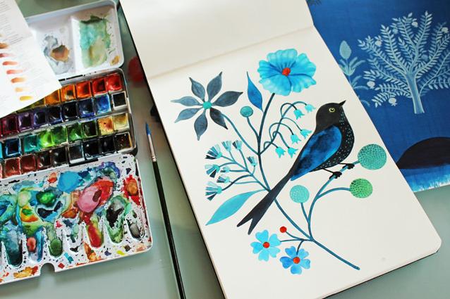 Pájaro pintado con acrílicos - Geninne